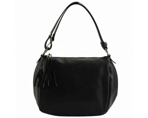black shoulder bag in genuine leather camelia for woman