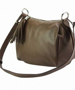 light taupe shoulder bag in genuine leather camelia for woman