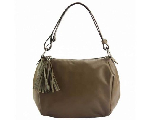 light taupe shoulder bag in soft leather camelia for woman