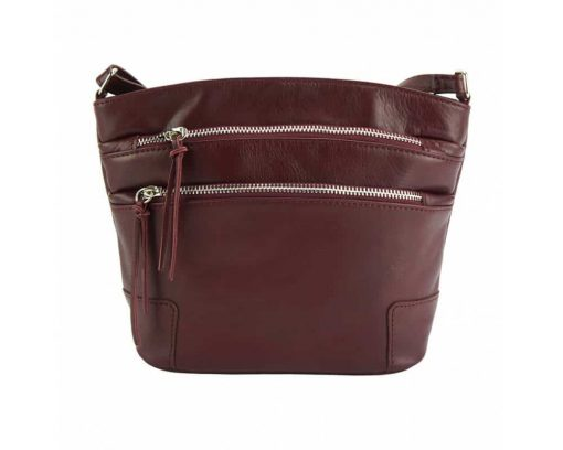 bordeaux cross body bag in genuine leather Georgeta for woman