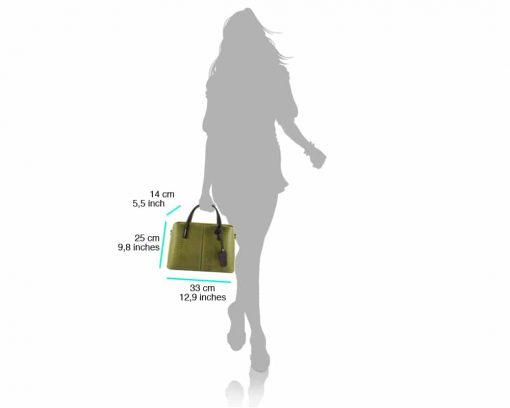 green business bag for woman in leather