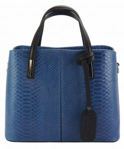 dark blue handbag cosmina in crocodile style in genuine leather