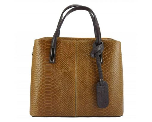 brown handbag cosmina in crocodile style in real leather for woman