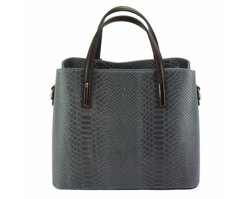grey handbag cosmina in crocodile style in real leather from italy