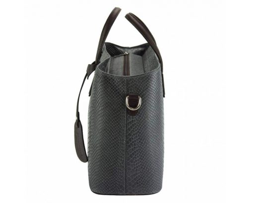 grey handbag cosmina in crocodile style in natural leather for woman