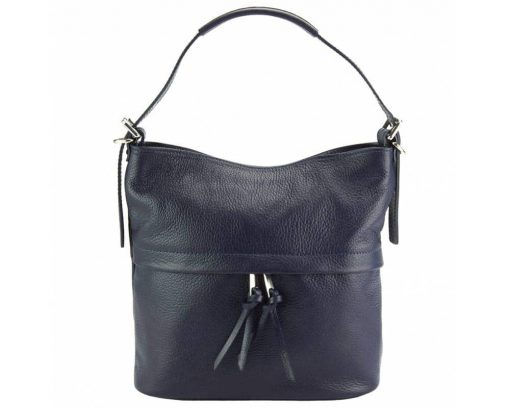 dark blue shoulder bag in natural soft leather Gloria for woman