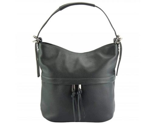 dark grey shoulder bag in natural soft leather Gloria for woman