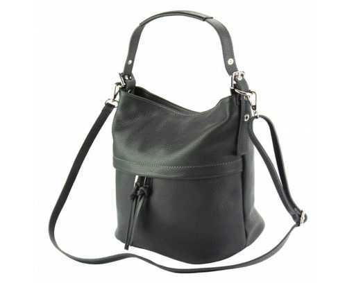 dark grey shoulder bag in genuine soft leather Gloria for woman