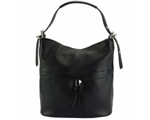 black shoulder bag in genuine leather Gloria for woman