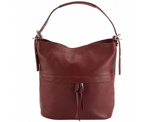 dark red shoulder bag in genuine leather Gloria for woman