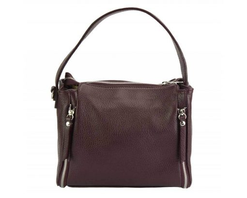 bordeaux color bag in leather Jasmine for woman