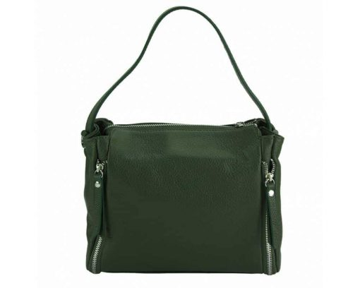 dark green color bag in leather Jasmine for woman