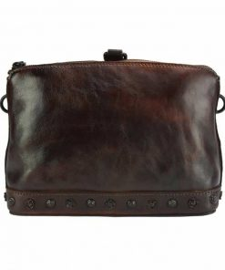 dark brown shoulder bag from real leather dorina for woman