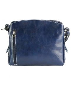 dark blue shoulder bag elizaveta in natural leather from italy