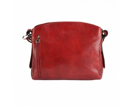 red shoulder bag for woman elizaveta in real leather from italy