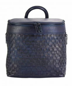 dark blue backpack in woven natural leather ecaterina for woman