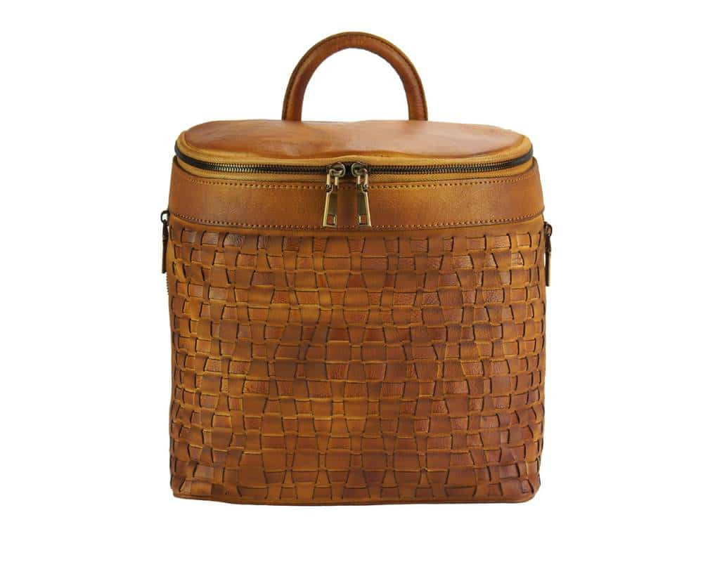 tan backpack in woven natural leather ecaterina for woman