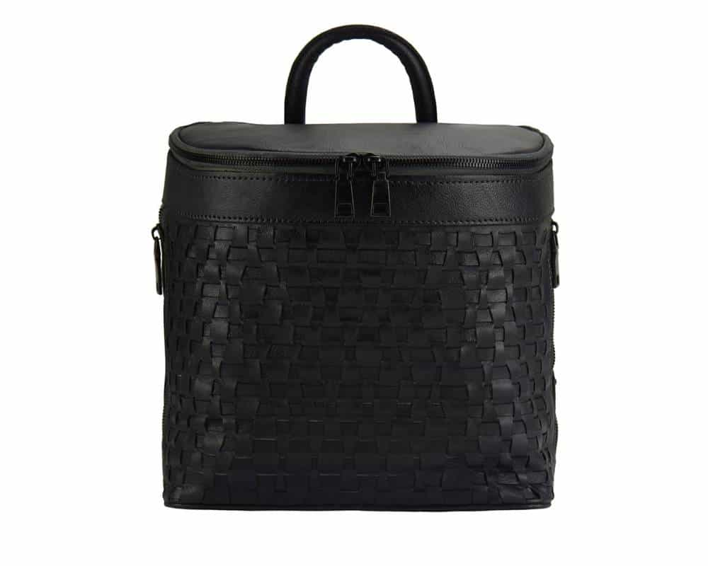 black backpack in woven natural leather ecaterina for woman
