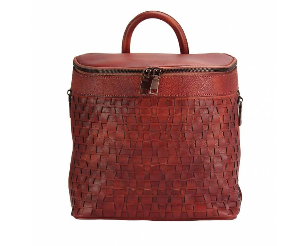 dark red backpack in woven natural leather ecaterina for woman