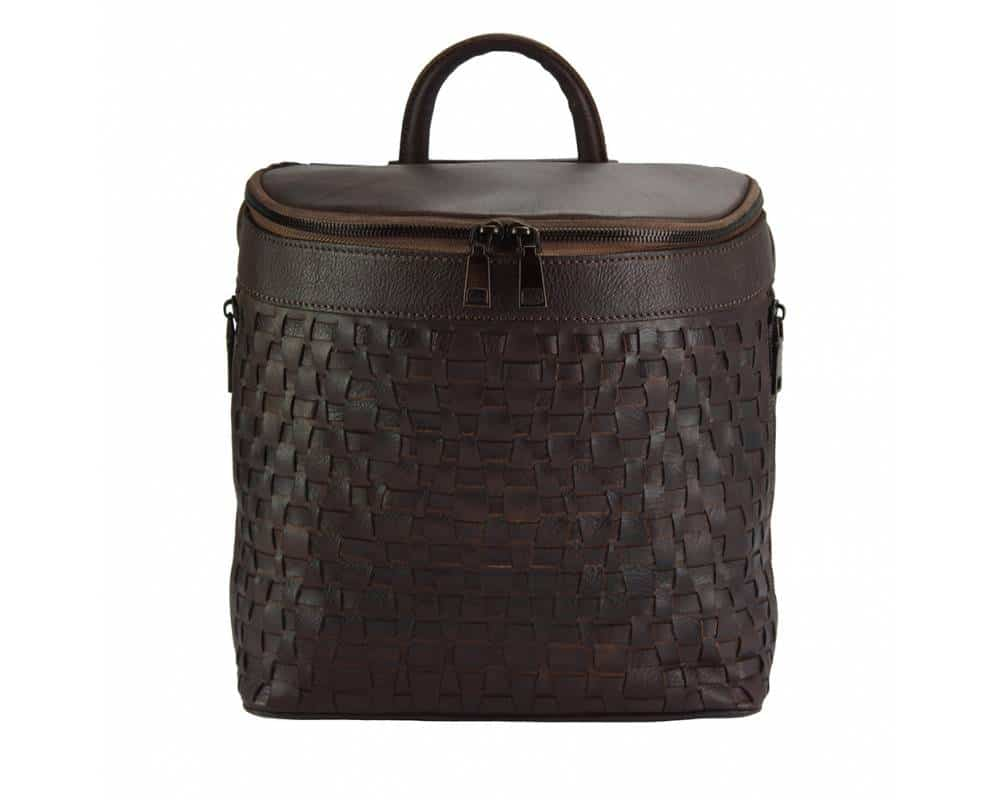 dark brown backpack in woven natural leather ecaterina for woman