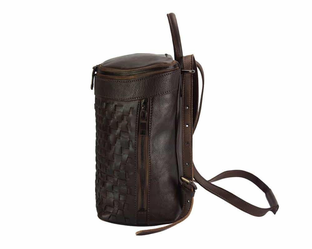 dark brown backpack in woven real leather ecaterina for woman
