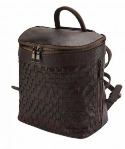 dark brown backpack in woven genuine soft leather ecaterina