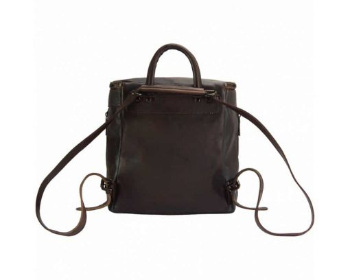 dark brown backpack in woven leather ecaterina for woman
