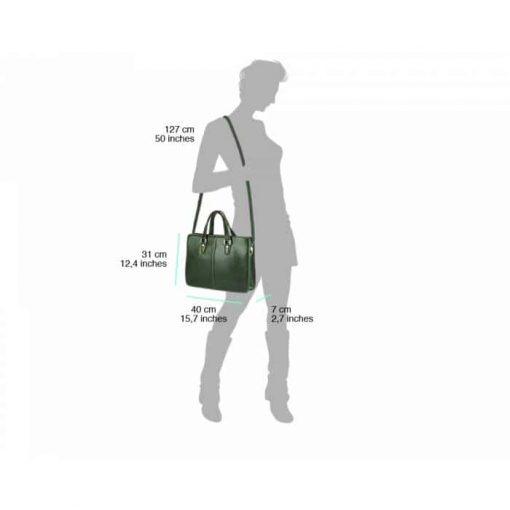 dark green business bag for woman in natural leather
