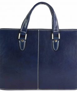 dark blue briefcase for business in genuine leather ioana