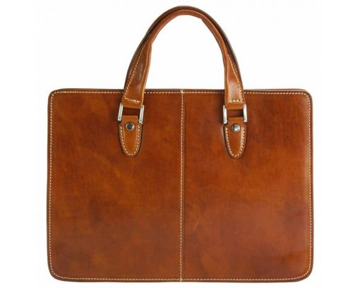 brown briefcase for business in real leather ioana for woman