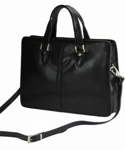 black handbag for business in genuine leather ioana
