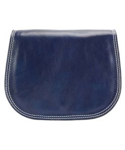 dark blue cross body bag in real leather doina for woman