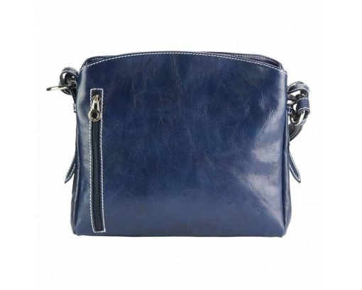 dark blue cross body bag in natural rigid leather sofia from italy