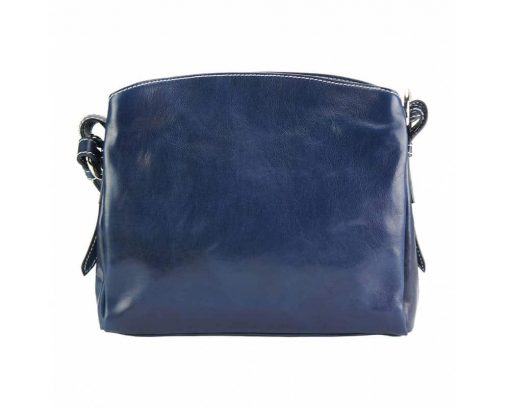 dark blue bag in natural rigid leather sofia for woman