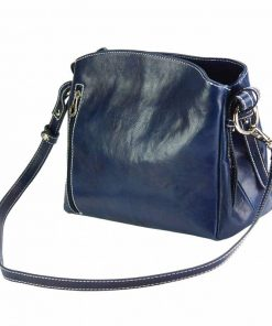 dark bluecross body bag in natural rigid leather sofia