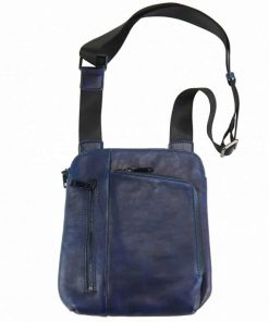 dark blue messenger bag vadim for men in real vintage leather from italy