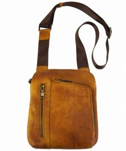 tan messenger bag vadim in real leather from italy