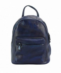 dark blue backpack bogdan in vintage soft leather
