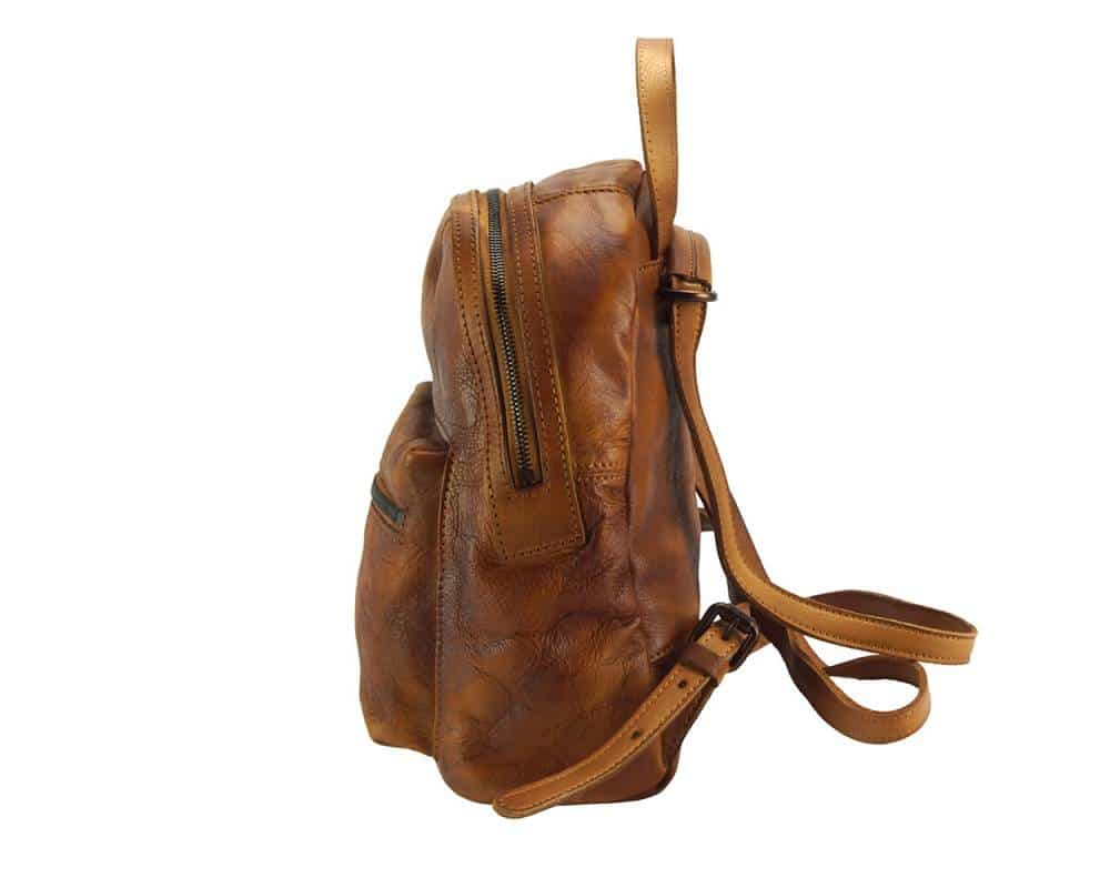 dark brown backpack bogdan unisex in vintage leather from italy