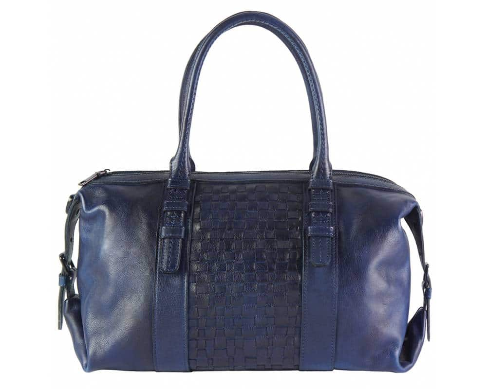dark blue handbag in woven vintage leather violeta for woman from italy