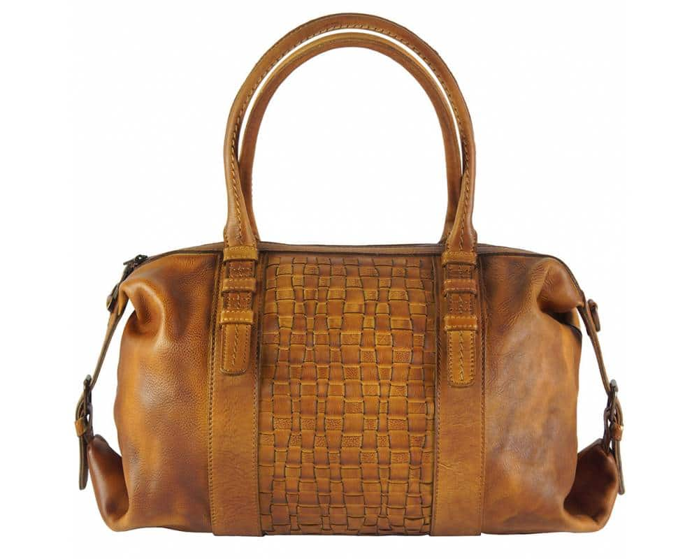 tan bag in woven vintage leather violeta from italy