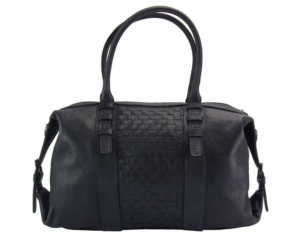 black bag in woven genuine leather violeta from italy