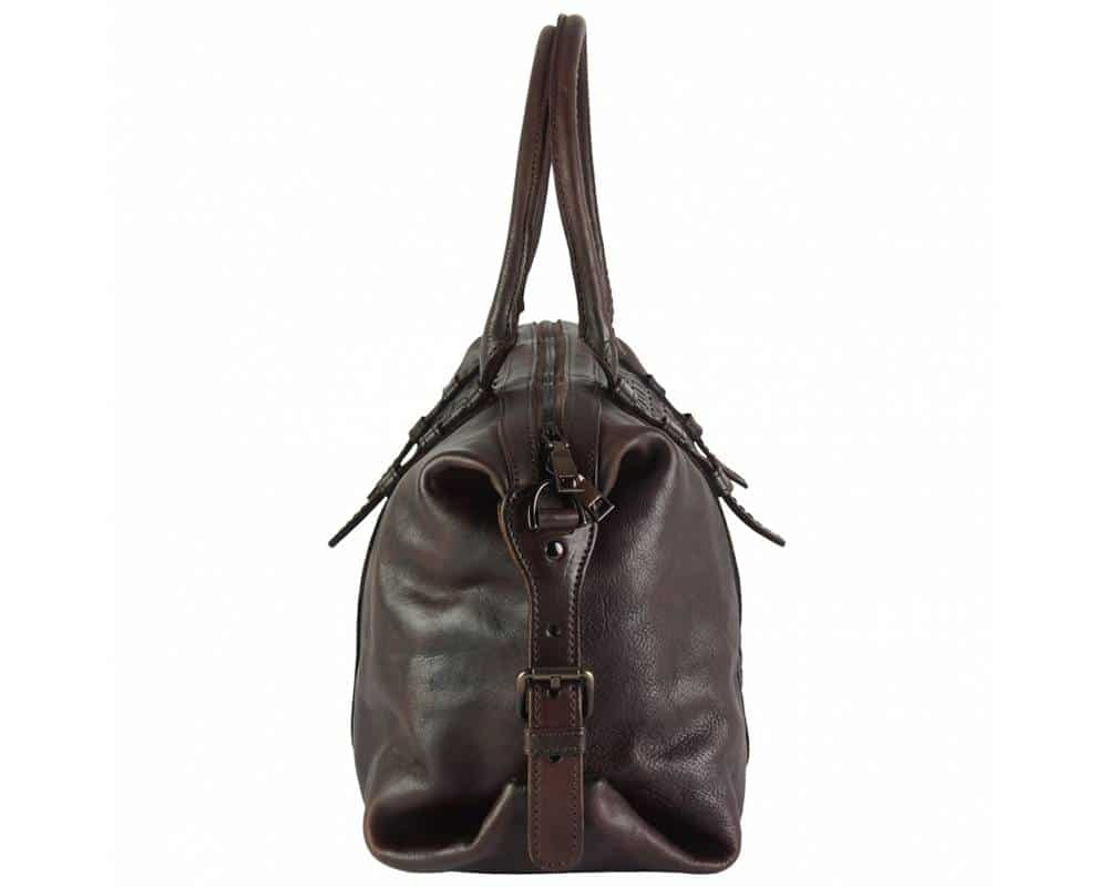 dark brown bag in woven leather violeta for woman