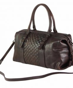 dark brown bag in woven genuine leather violeta