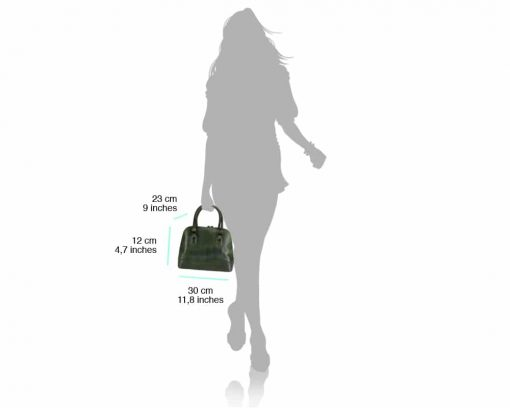 dark green business bag for woman small from italy