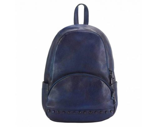 dark blue backpack in genuine vintage soft leather dica from italy for woman