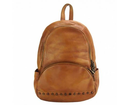 tan backpack in genuine vintage soft leather dica unisex