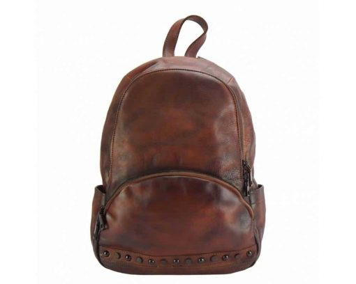 dark red backpack in genuine vintage leather dica from italy