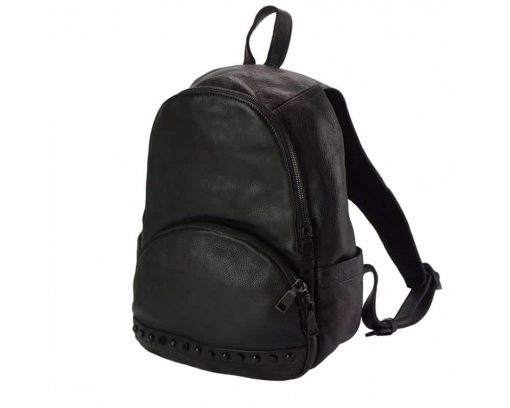 black backpack in genuine leather dica for woman