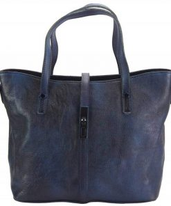 dark blue handbag in vintage genuine leather dana for woman